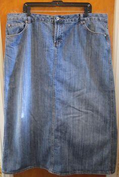 Ashley Stewart Womens Plus Size 20W Modest Modesty Denim Jean Skirt #AshleyStewart #StraightPencil
