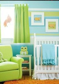I love the frogs and goldfish in this. Blue, green, and orange is the color scheme I'm going with in my house, so that's probably what I'll be using in the baby's room also. Pistachio green will likely be the dominating color, with aquamarine as the secondary color if I have a boy, peach or apricot if I have a girl.