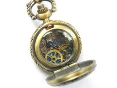 Doctor Who Necklace Tiny Pocket Watch in Antique Gold by TimeMachineJewelry