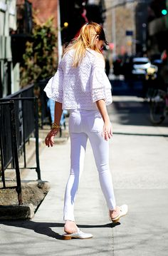Love this head-to-toe white outfit on Danielle Bernstein of #WeWoreWhat.