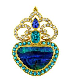 Paula Crevoshay pendant set with a 22.30ct opal, tanzanites, apatites, blue zircon and diamonds.