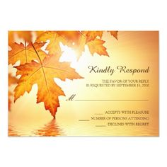Fall Wedding Invitations Fall Wedding RSVP Cards With Orange Leaves