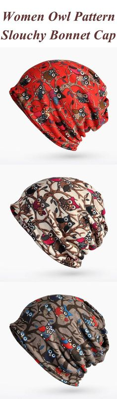 Women Owl Pattern Slouchy Bonnet Cap Multi-function Double Layers Windproof Warm Scarf