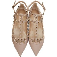 Valentino Pink Rockstud Cage Flats found on Polyvore featuring shoes, flats, leather sole shoes, leather ballerina flats, pink flats, pointy toe flats and ballet flats