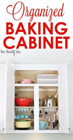 Organized baking cabinet! Have everything you need for baking in the same spot in your kitchen. Great kitchen organization tips.