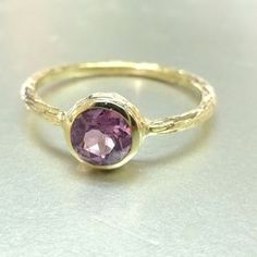 Pink Spinel Ring. Engagement Ring Or Stacking Ring. 14k Gold by Valerie Kay