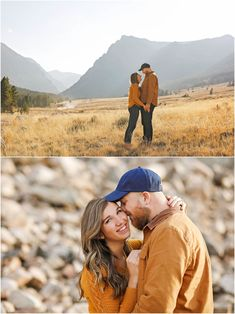 Fall Engagement Session - Red Lodge - Montana - Beartooth Pass - Beartooth Highway - Man - Woman - Engaged - Couple - Fiancé - Outdoor - Mountains - Field - Trees - Dirt - Road - Rocks - Grass - Brown - Gold - Orange - Sweater - Jacket - Jeans - Jeggings - Holding Hands - Blue Baseball Cap - Embrace - Montana Wedding Photographer - Sara Nagel Photography