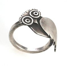 Owl Ring by Susan Elnora: Silver Ring available at www.artfulhome.com
