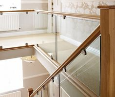 Contemporary Oak & Glass - Steel & Glass Staircases - Bespoke Staircases Sort of. Glass Bannister, Glass Stairs, Bannister Ideas, Balustrades, Glass Balustrade, Glass Handrail, Railing Design, Staircase Design, Bespoke Staircases