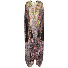 Roberto Cavalli Printed Silk Long Kaftan ($1,250) ❤ liked on Polyvore featuring tops, tunics, kaftan tops, going out tops, long tops, long kaftan and silk kaftan