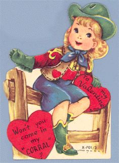 Vintage Valentine Museum: Cowgirls love Cowboys! Western Americana on Valentines