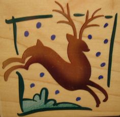 Reindeer Square Q076 Stampendous Christmas Leaping Deer Solid Shape Rubber Stamp