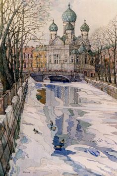 "Saint Petersburg by Juriy Khitrov_Юрий Хитров (1939-2006, Ленинград) ""Церковь Исидора Юрьевского"", 1993"