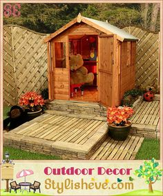 Luxury Outdoor Kids Playhouse. i like the decking around it