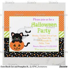 Cute Black Cat and Pumpkin Halloween Party Adult Halloween Invitations, Adult Halloween Party, Halloween Home Decor, Halloween Birthday, Halloween House, Halloween Gifts, Halloween Pumpkins, Happy Halloween, Halloween Festival