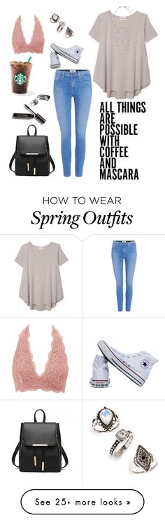 """casual summer and spring outfit"" by laurendoyle-2 on Polyvore featuring Converse, Olive + Oak, Paige Denim, Charlotte Russe, Lucky Brand, Topshop and Bobbi Brown Cosmetics"