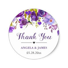 Ultra Violet Purple Floral Wedding Favor Thank You Classic Round Sticker - wedding thank you gifts cards stamps postcards marriage thankyou