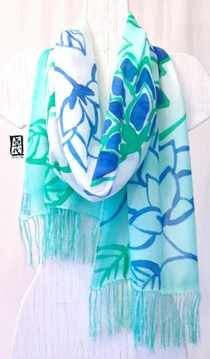 Handpainted Silk Fringe Scarf, Spring Scarf, Mother's Day Gifts, Mint Green and Blue Ombre Japanese Floral, Green Floral Scarf. 14x72 in. on Etsy, $92.00