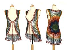 Rainbow Crochet Vest - Green To Red Flower Mandala Top - Hippie Clothing