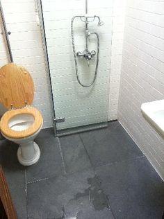 Folding shower door for tiny bathroom.  Imagine being able to just spray down the toilet with the shower head. Uber smal. Only problem, where does the water drain?