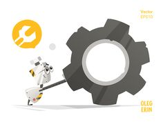 Cute little funny robot and big gear Vector Character Design Illustration