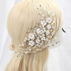 FLOW ZIG Women's/Flower Girl's Crystal/Alloy/Imitation Pearl/Cubic Zirconia Headpiece - Wedding/Special Occasion Flowers * Click on the image for additional details. (This is an affiliate link) #ILoveJewelry