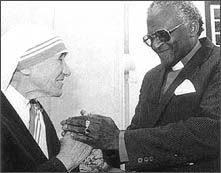 Mother Teresa & Desmond Tutu - my heroes! Teacher Librarian, Teacher Stuff, Missionaries Of Charity, Saint Teresa Of Calcutta, Childhood Images, Writing Posters, Desmond Tutu, Catherine The Great, Marie Curie