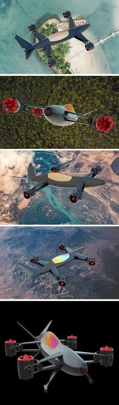 """666 is the number of km/h this devilish drone can reach! This mean-looking machine is called the Accula QX44 Skyster and it's been designed as one of the first """"Formula Sky"""" racing vehicles. The quadcopter packs 8 motors with 3-axis and 360 degree movement which give it unmatched maneuverability. It can pitch, yaw and roll in place, right in the air! The single-passenger VTOL (vertical take-off and landing) vehicle can also be used for leisurely flights."""