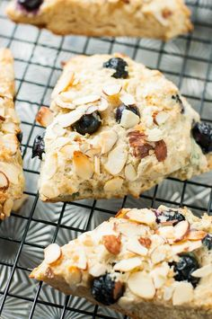 Fluffy bakery-style almond blueberry scones with a sweet honey-lemon glaze. These delicious scones are the perfect compliment to your morning coffee or tea. #ad