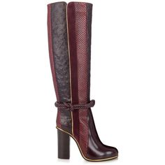 Lanvin Python, leather and suede knee-length boots (18 525 UAH) ❤ liked on Polyvore featuring shoes, boots, botas, schuhe, zapatos, burgundy, real leather boots, suede leather boots, knee high boots and genuine leather boots