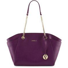 Furla Julia Medium Leather Tote Bag ($221) ❤ liked on Polyvore featuring bags, handbags, tote bags, aubergine, zippered tote bag, leather tote, leather purse, purple leather handbag and purple leather purse