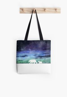 """Aurora borealis and polar bears (light version)"" Tote Bag by Savousepate on Redbubble #totebag #bag #watercolorpainting #blue #purple #green #black #white"