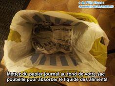 Absorbez le liquides au fond de vos poubelles avec du papier journal