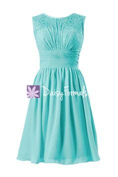 Aqua Lace Bridal Party Dress Tiffany Blue Vintage Chiffon Formal Dress Turquoise…