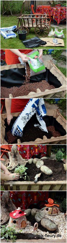 Gartenwichtelwelt - Minaturengarten für Wichtel, Idee für den Garten, kleiner Garten selbst gebaut