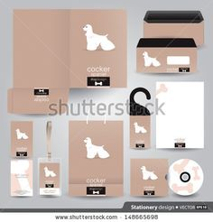 Stationery set design / Stationery template / Corporate identity design vector / Cocker spaniel dog design. - stock vector