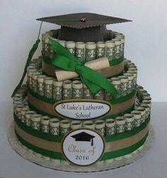 Graduation Gifts : Graduation Money cake creative gifts for grads gifts grads love creative ways Best Graduation Gifts, Graduation Diy, Graduation Decorations, Grad Gifts, Diy Gifts, Unique Gifts, Graduation Quotes, Cap Decorations, Party Gifts
