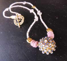 Sea Urchin Necklace Artisan lampwork with Rose Quartz by rickitic