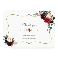 Chic Merlot Navy Blue Floral Wedding Thank you Card - country wedding gifts marriage love couples diy customize Cowgirl Wedding, Wedding Pins, Fall Wedding, Elegant Wedding Gowns, Floral Wedding, Wedding Flowers, Marsala And Gold Wedding, Burgundy Wedding, Wedding Invitations Online