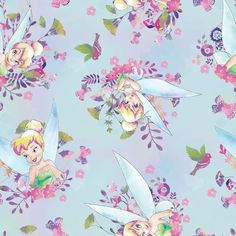 FAT QUARTER DISNEY FABRIC TINKERBELL TINK ALLOVER COTTON PIXIE FAIRY QUILTING FQ
