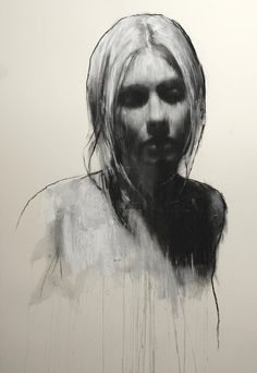 Sam, portrait by Mark Demsteader, pastel and collage, 46 x 32 inch