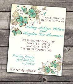 Teal flowers LOVE THIS :) wedding invitation