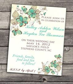 Teal flowers on white background wedding invitation