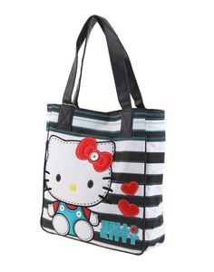 Hello Kitty White and Black Gingham Large Shoulder Bag - Hello Kitty Shoulder Bag - Hello Kitty Stores :: BeardBrother Hello Kitty Merchandise, Hello Kitty Bag, Large Shoulder Bags, Cosmetic Bag, Fashion Bags, Gingham, Reusable Tote Bags, Wallet, Black
