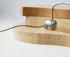 Cross-stitch Metal Minimal Necklace Elephant in Blue - Unusual Minimalist Urban Jewelry.