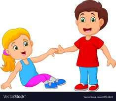 Boy helping a girl stand up Royalty Free Vector Image