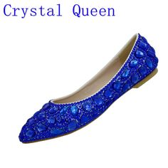 Crystal Queen Rhinestone Crystle Cinderella Shoes Sexy Flat heel Women  Shoes Wedding Shoes Flats big size d87dddf5abd8