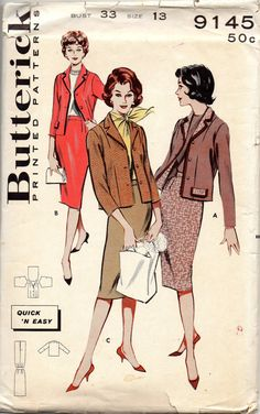 Butterick 9145 1950s Misses Skirt and Jacket Pattern Chanel Style womens vintage sewing pattern by mbchills