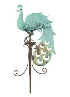 Architectural Heritage knockoff - Peacock weathervane An Early Century Copper Peacock Weather Vane A copper weather vane in the form of a stylised Peacock, circa This weather vane is. Peacock Decor, Peacock Art, Peacock Theme, Peacock Design, Blowin' In The Wind, Lightning Rod, Weather Vanes, Yard Art, Metal Art