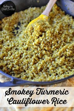 Smokey Turmeric Cauliflower Rice | It's a super easy way to get in some extra veggies, it's full of anti-inflammatory turmeric, and it's perfect for THM, Paleo, Whole 30, grain-free, and low-carb lifestyles. We regularly eat this cauliflower rice with our favorite Instant Pot meals! | TodayInDietzville.com